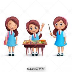 دانلود وکتور دختران دانش آموز مدرسه